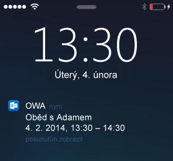 Zamykací obrazovka s upozorněním na schůzku v OWA pro iPhone