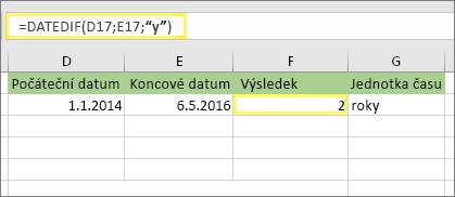 "= DATEDIF (D17, E17, ""y"") a výsledek: 2"