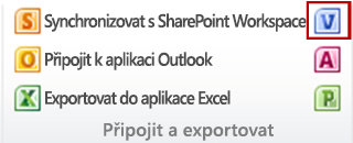 Tlačítko Vytvořit diagram aplikace Visio ve skupině Připojit a exportovat na kartě Seznam