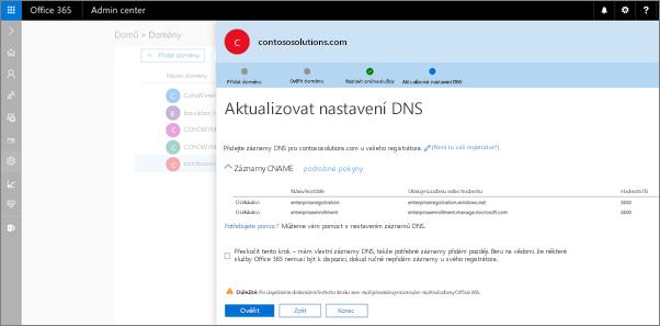 Přidání uvedené u svého hostitele DNS záznamy DNS