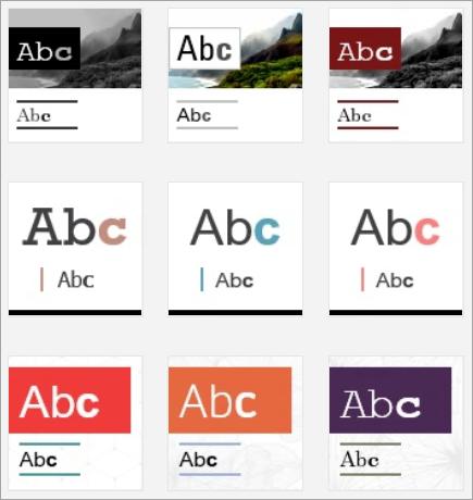 Snímek obrazovky s miniaturami návrhů Swaye.