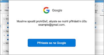 Dialogového okno z Googlu s výzvou k přihlášení uživatele