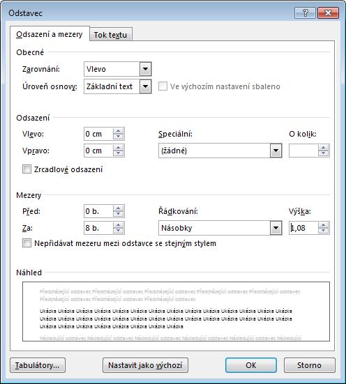 Snímek obrazovky dialogového okna Odstavec ve Wordu s kartou Odsazení a mezery.