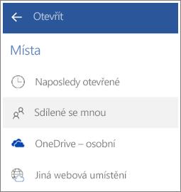 Snímek obrazovky s postupem, jak v Androidu zobrazit soubory, které s vámi ostatní sdílejí.