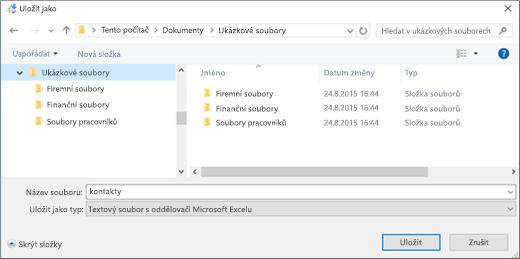 Uložte soubor contacts.csv do umístění na vašem počítači.