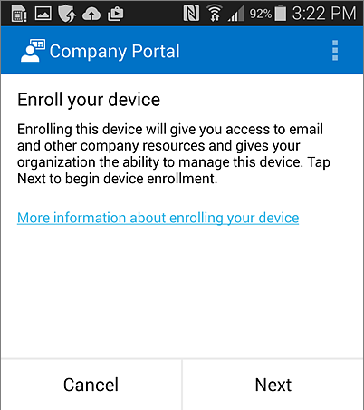 Enroll Company Portal on Android