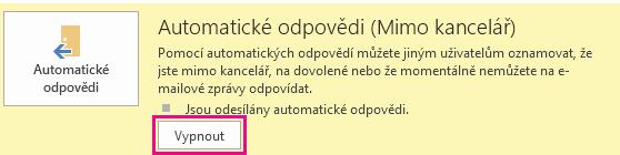 Snímek obrazovky dialogového okna Outlooku Vypnout automatické odpovědi