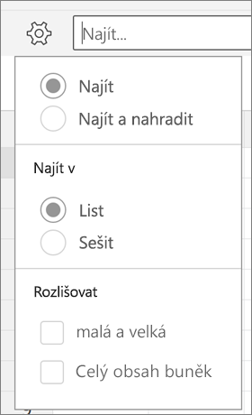 Zobrazuje najít, najít a nahradit, listu, sešit, písmena a celý obsah buněk možnosti pro hledání v Excelu pro Android.