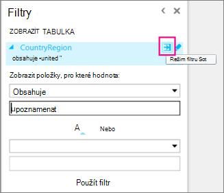 Ikona Rozšířený filtr v Power View