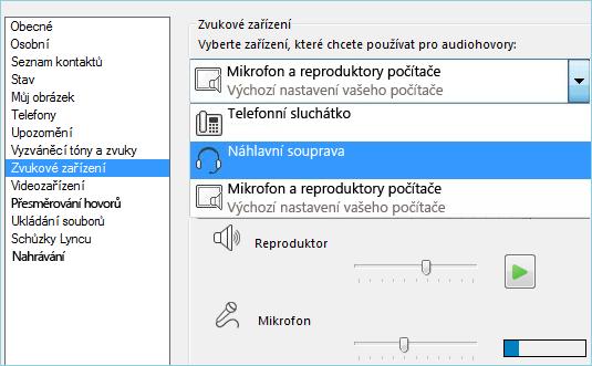 Snímek obrazovky s nastavením zvuku
