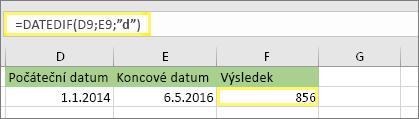 """= DATEDIF (D9, E9, """"d"""") s výsledkem 856"""