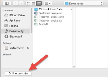 Nabídka pro otevření souboru se zobrazením položek na počítači Mac