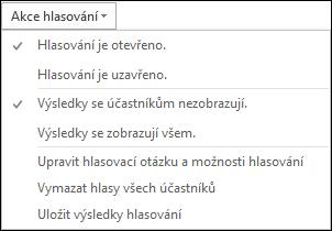 Snímek obrazovky s akcemi hlasování