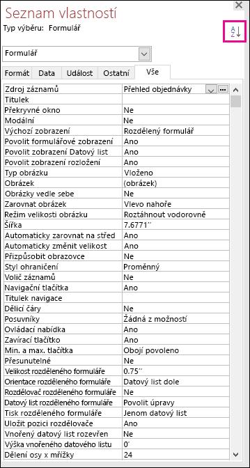 Snímek obrazovky se seznamem vlastností Accessu bez řazení