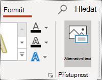 Tlačítko podokno pro obrazec v PowerPointu pro Windows