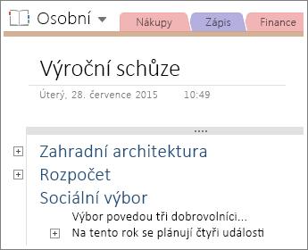 Snímek obrazovky se stránkou v aplikaci OneNote 2016 s hierarchickou strukturou