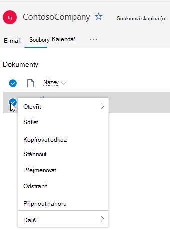 Zobrazení možností odstranění a přejmenování souborů