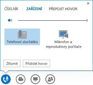 Snímek obrazovky ovládacích prvků zvukového volání