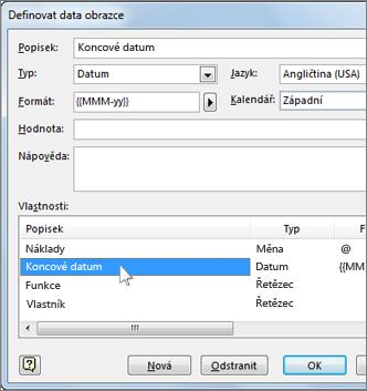 Dialog Definovat data obrazce