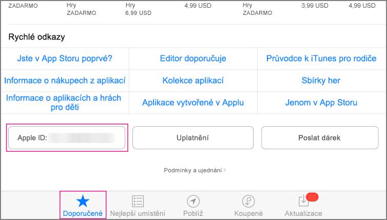 Část App Storu s vybranými aplikacemi