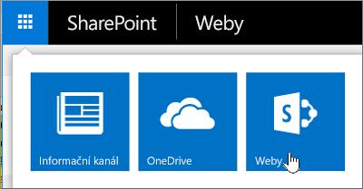 V pravém horním rohu stránky vyberte ikonu pro spuštění aplikace a pak vyberte Weby.
