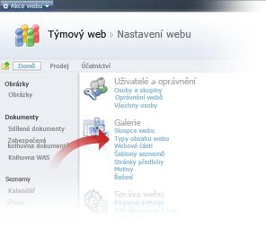 Výběr typů obsahu webu v okně Nastavení webu