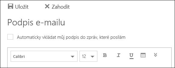Outlook na webu: zpráva Podpis e-mailu