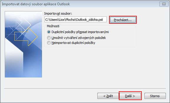 The save destination and file name are shown in the File to import box.