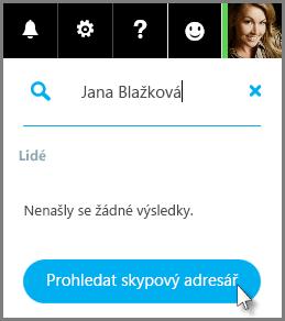 Klikněte na Prohledat skypový adresář.