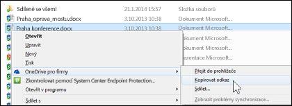 Zkopírování odkazu na soubor, který synchronizujete s úložištěm OneDrive pro firmy