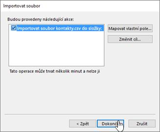 Při importu kontaktů Gmailu do poštovní schránky Office 365 spustíte migraci kliknutím na tlačítko Dokončit.