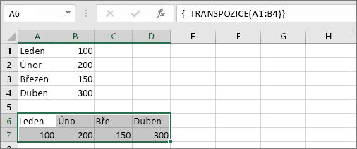 Výsledek vzorce v buňkách A1:B4 transponovaných do buněk A6:D7