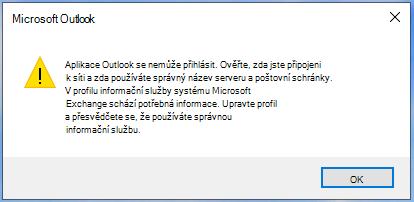 Aplikace Outlook se nemůže přihlásit.