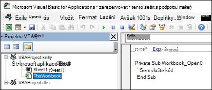 Modul ThisWorkbook v Visual Basic Editor (VBE)