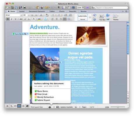 Snímek obrazovky zobrazující spoluvytvářený dokument
