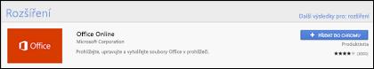 Úřední rozšíření Office Online v úložišti Chrome Web