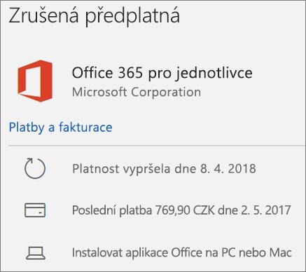 Zobrazuje předplatné Office 365 s vypršenou platností.