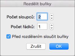 Snímek obrazovky s dialogovým oknem rozdělené buňky s možnostmi nastavení počtu sloupců a počtu řádků