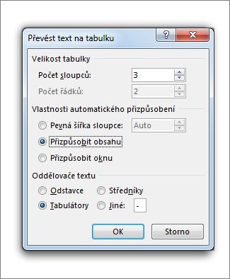Okno Převést text na tabulku