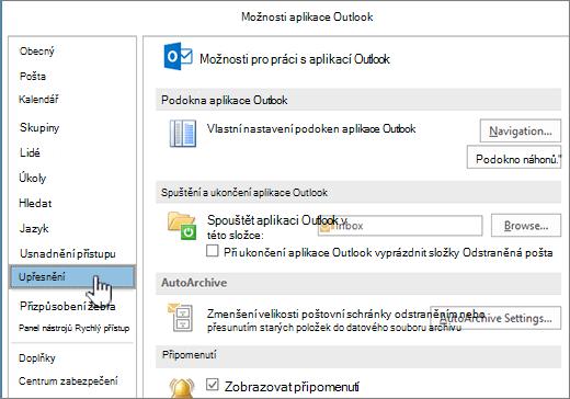Možnosti Outlooku s vybranou možností Upřesnit
