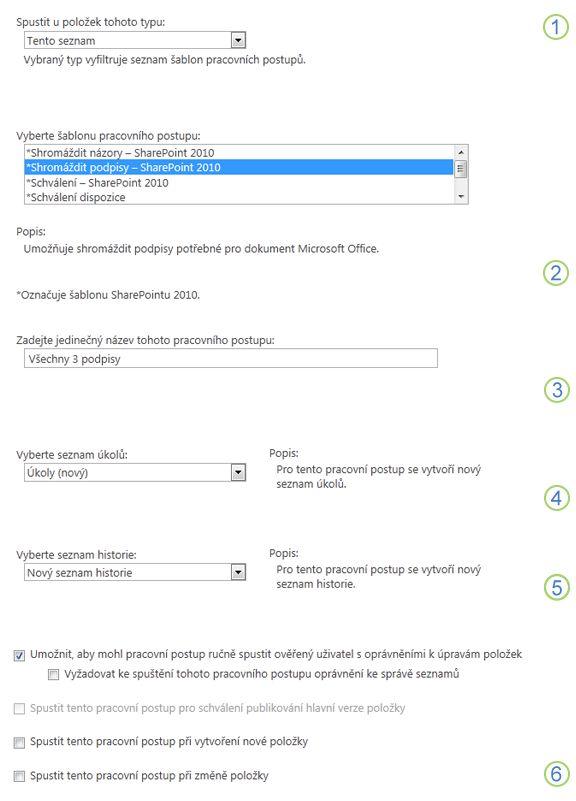 První stránka přidružovacího formuláře pro jeden seznam nebo knihovnu