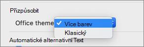 Rozevírací seznam motiv Office, kde může uživatel vybrat barevný nebo klasický motiv