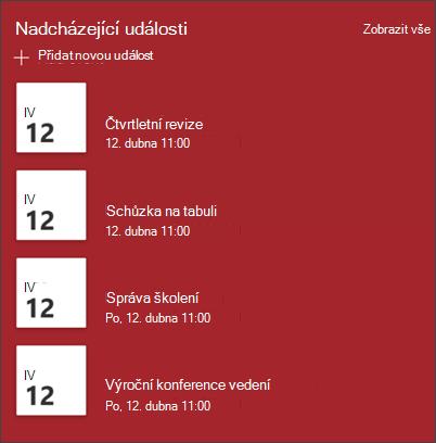 Snímek obrazovky s webovou částí Události