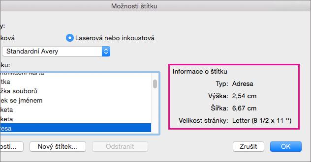Po výběru popisek produkt v seznamu číslo výrobku na levé straně aplikace Word zobrazí jeho rozměry na pravé straně.
