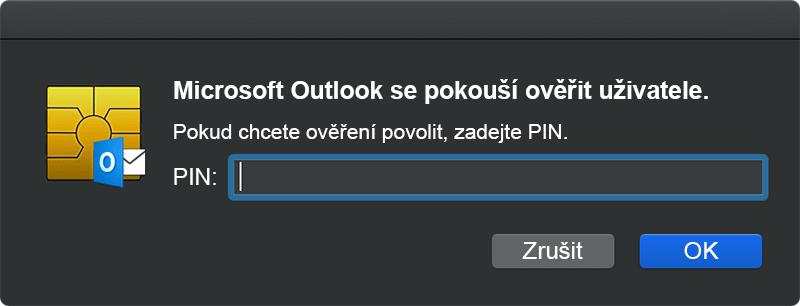 Snímek obrazovky s dialogovým oknem CryptoTokenKit