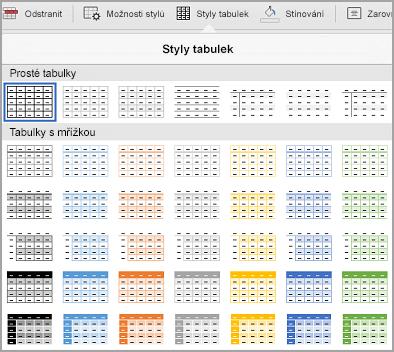 Galerie šablon tabulky iPad