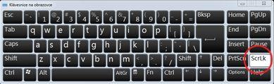 Klávesnice na obrazovce s viditelnou klávesou Scroll Lock