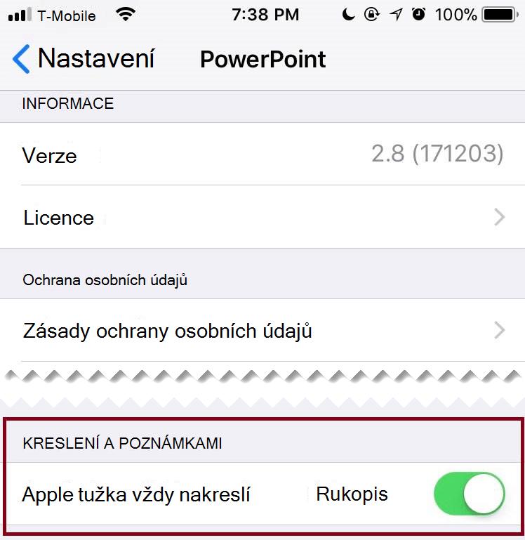 V nastaveních aplikace můžete automatické zobrazení zapnout nebo vypnout.