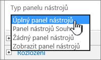 Vyberte typ panelu nástrojů