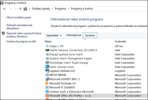 Klikněte na možnost Změnit v apletu Odinstalovat programy, abyste spustili opravu Microsoft Office.